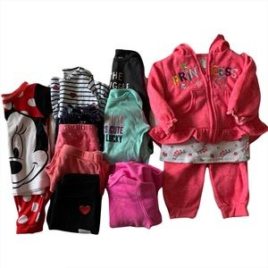 Lot of 13 Clothes Pajama Shirt Pants Outfit Hoodie Fall Winter 12 Months Girl